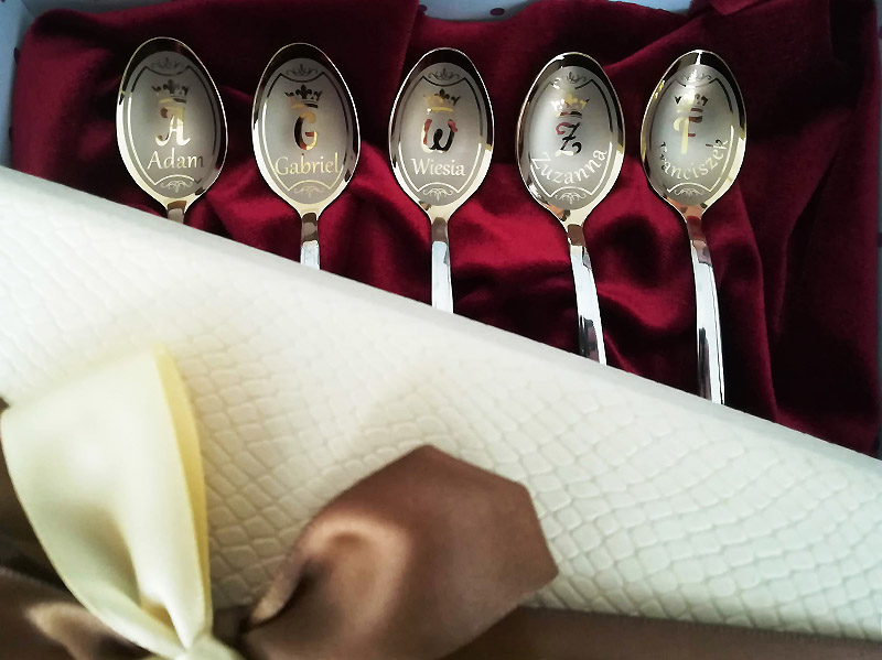 Teaspoons set with engraving and dates on a handles, wedding gift