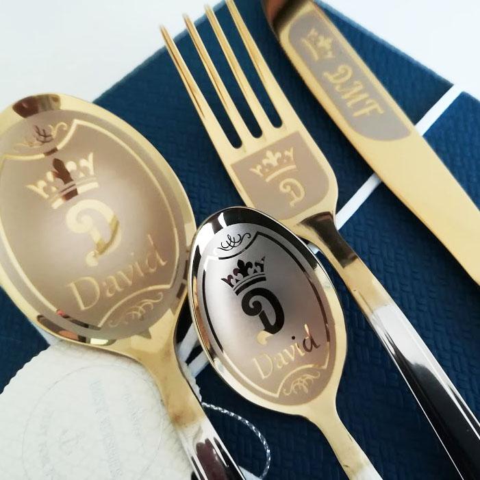 Engraved cutlery set