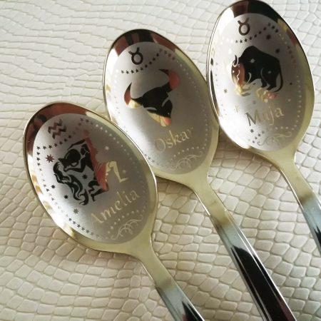 Zodiac engraves teaspoons