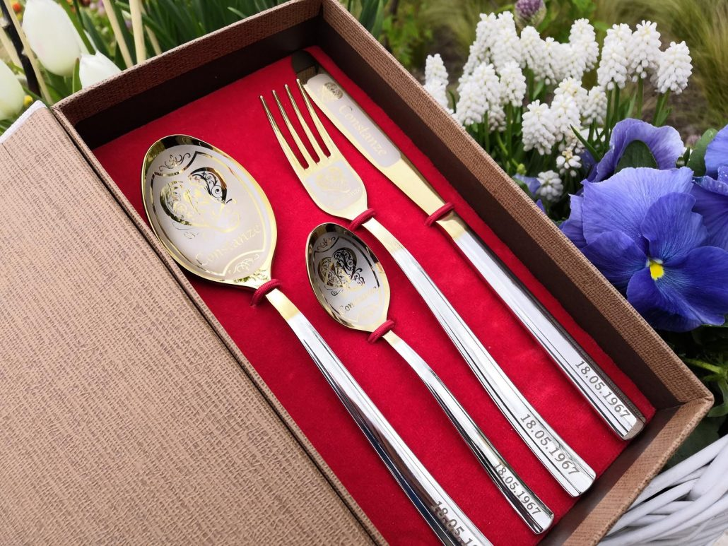 Cutlery with engraving and dates on a handles