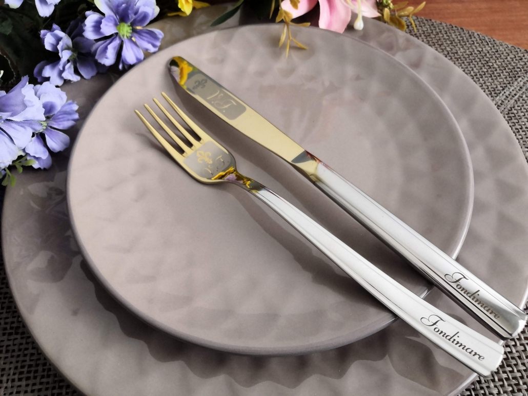 Dinner fork and knife with engraving